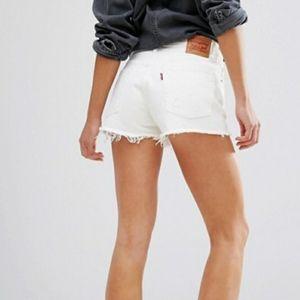 Levi's 501 High Rise White Shorts